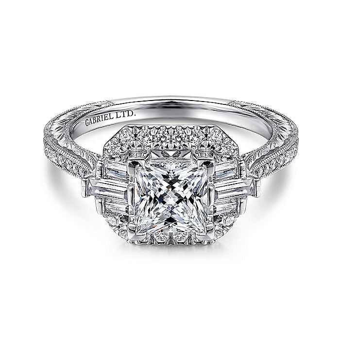 Art Deco 14K White Gold Princess Halo Diamond Engagement Ring