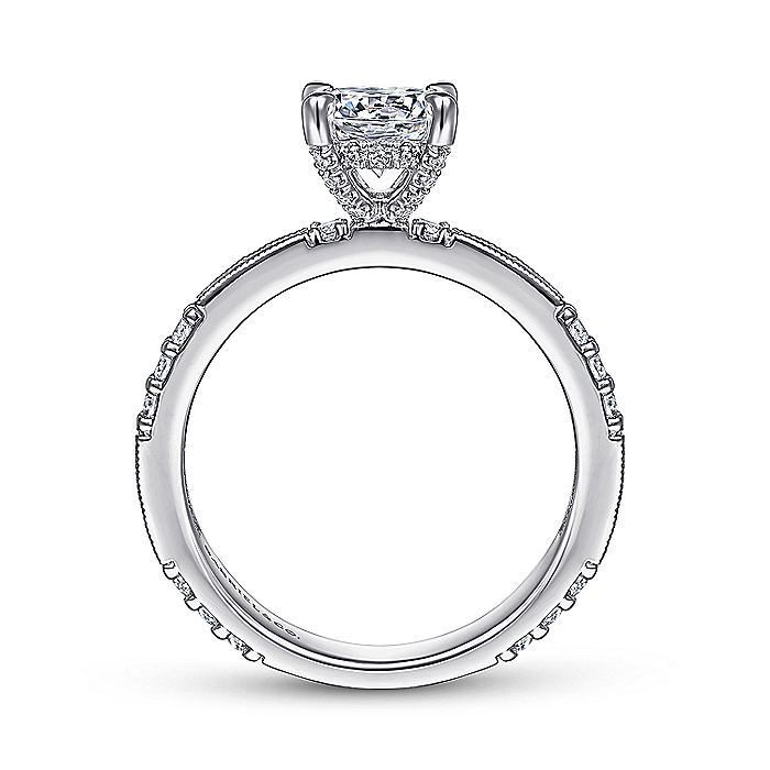 Art Deco 14K White Gold Round Diamond Engagement Ring
