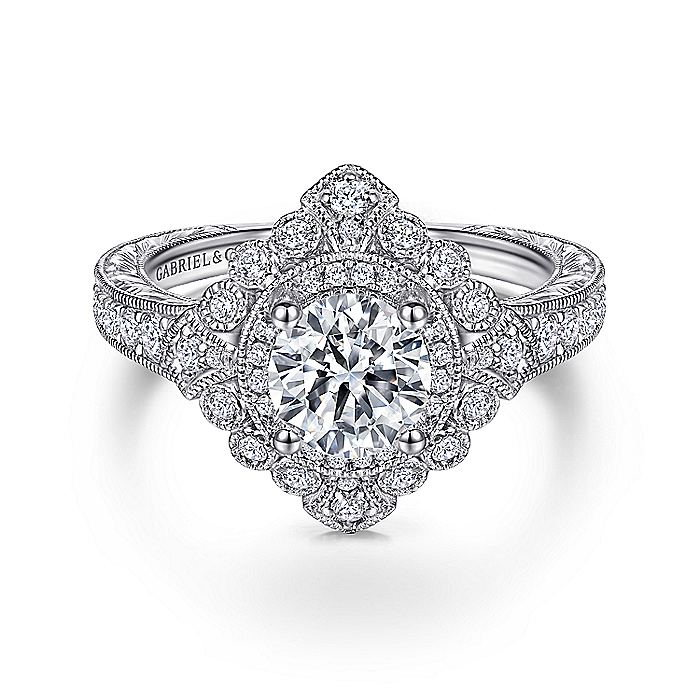 Art Deco 14K White Gold Round Double Halo Diamond Engagement Ring