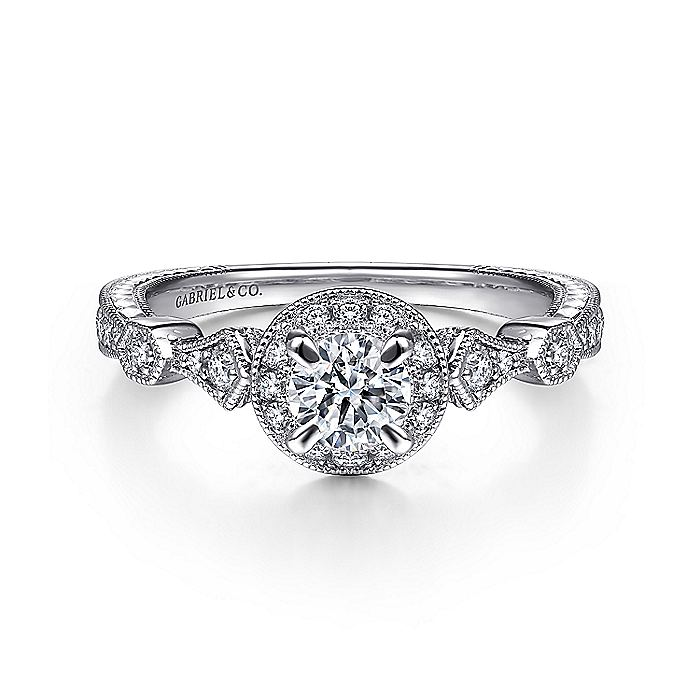 Art Deco 14K White Gold Round Halo Diamond Engagement Ring