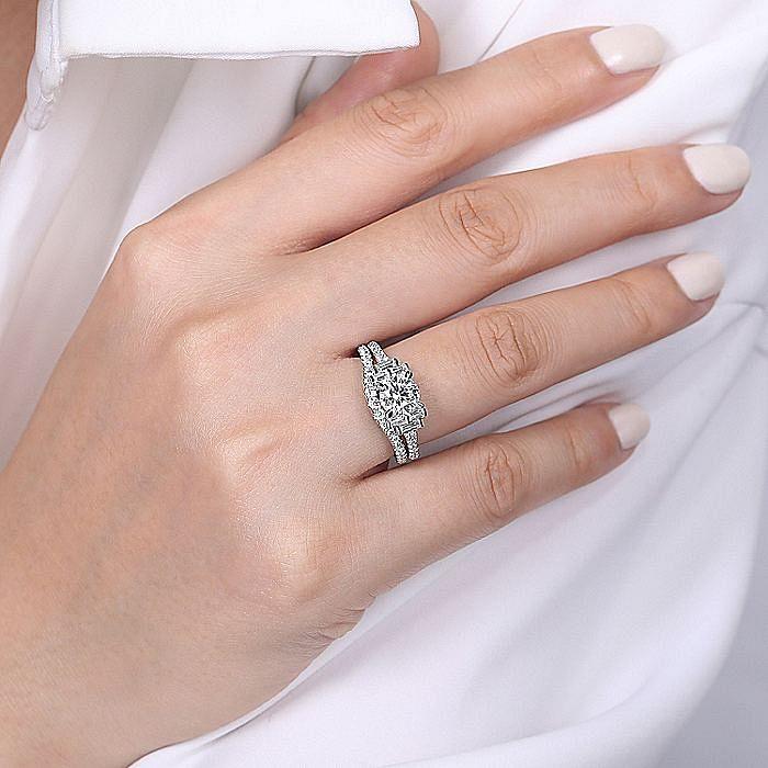 Art Deco 14K White Gold Round Three Stone Diamond Engagement Ring