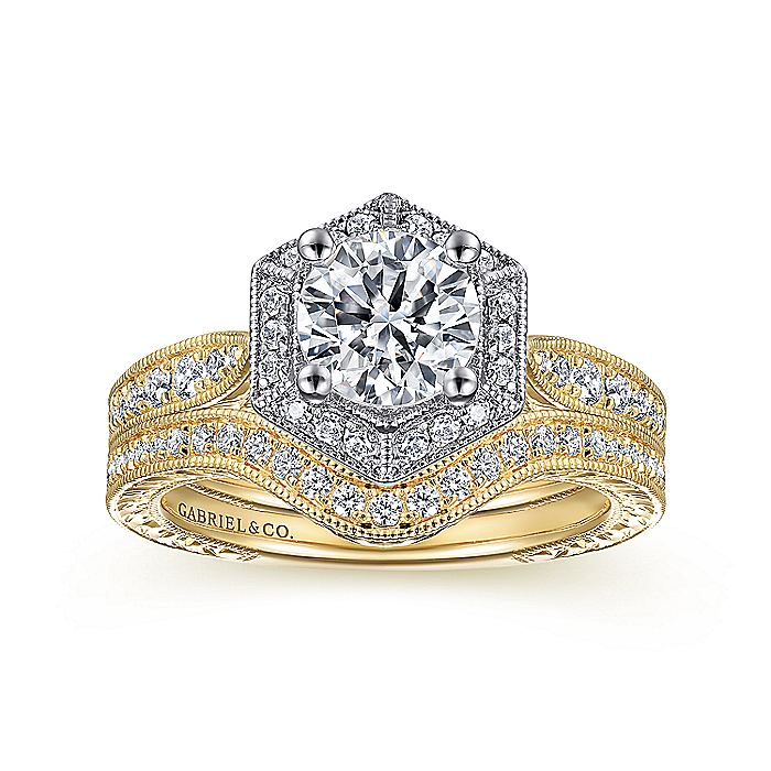 Art Deco 14K White-Yellow Gold Hexagonal Halo Round Diamond Engagement Ring