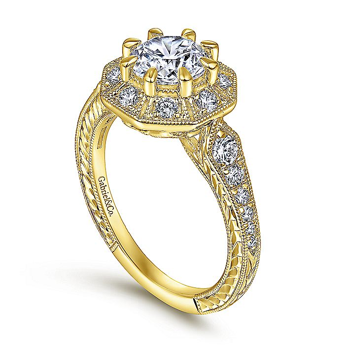 Art Deco 14K Yellow Gold Octagonal Halo Diamond Engagement Ring
