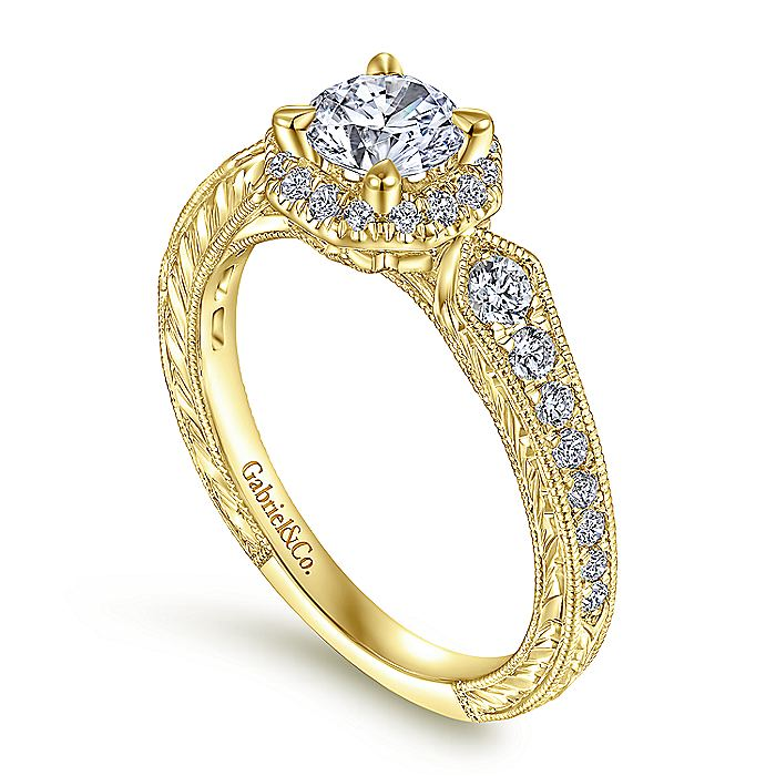 Art Deco 14K Yellow Gold Octagonal Halo Round Diamond Engagement Ring