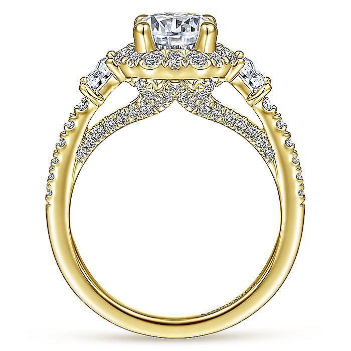 Art Deco 14K Yellow Gold Octagonal Three Stone Halo Round Diamond Engagement Ring