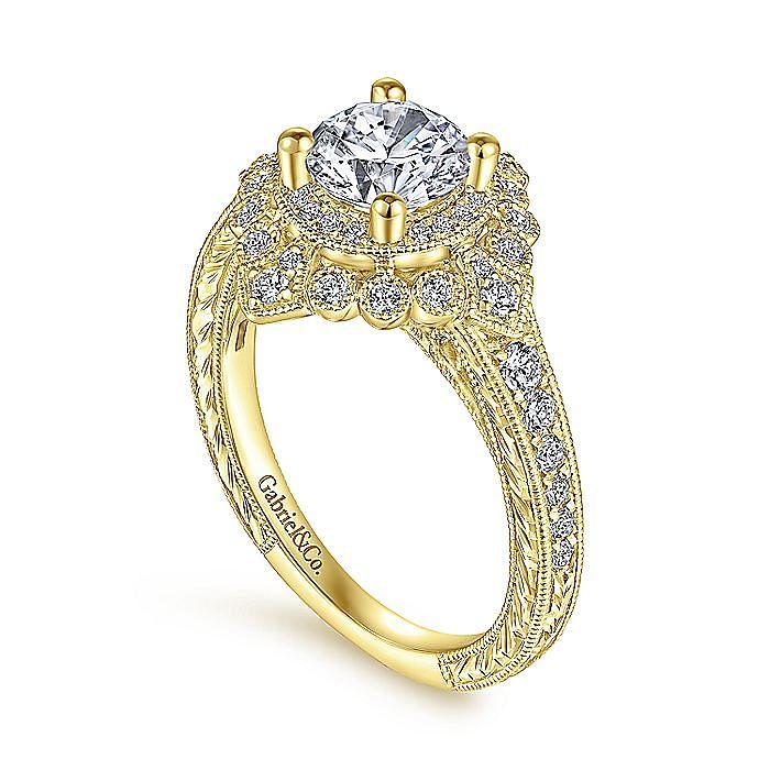 Art Deco 14K Yellow Gold Round Double Halo Diamond Engagement Ring