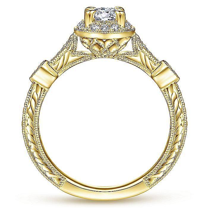 Art Deco 14K Yellow Gold Round Halo Diamond Engagement Ring