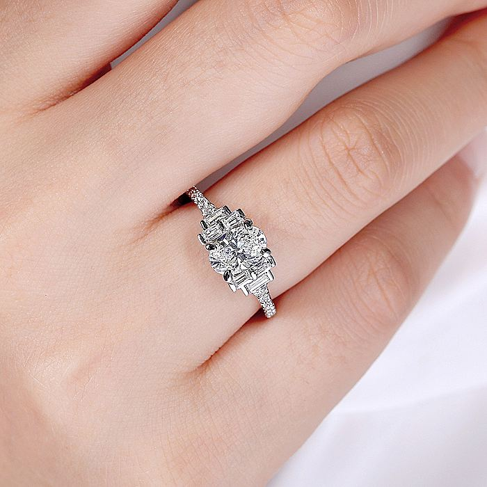 Art Deco 14k White Gold Oval Three Stone Diamond Engagement Ring