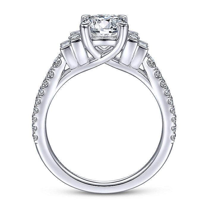 Art Deco 14k White Gold Oval Three Stone Diamond Engagement Ring