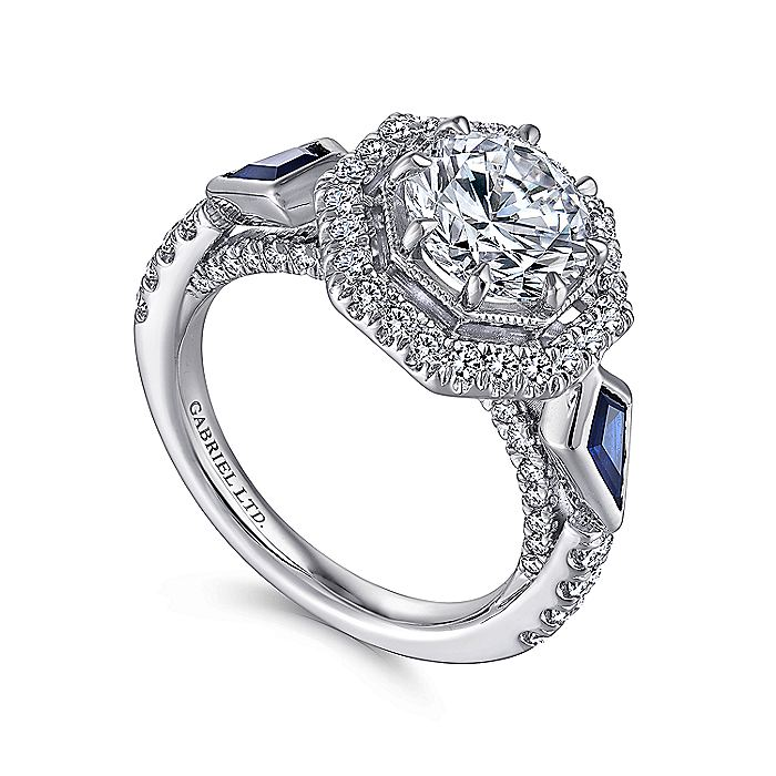 Art Deco 18K White Gold Octagonal Three Stone Halo Round Sapphire and Diamond Engagement Ring