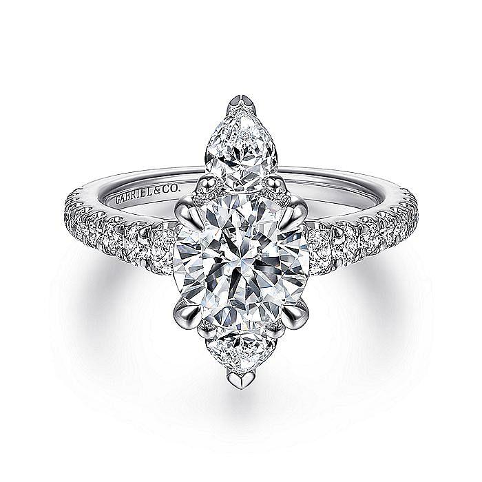 Art Deco 18K White Gold Round Three Stone Diamond Engagement Ring