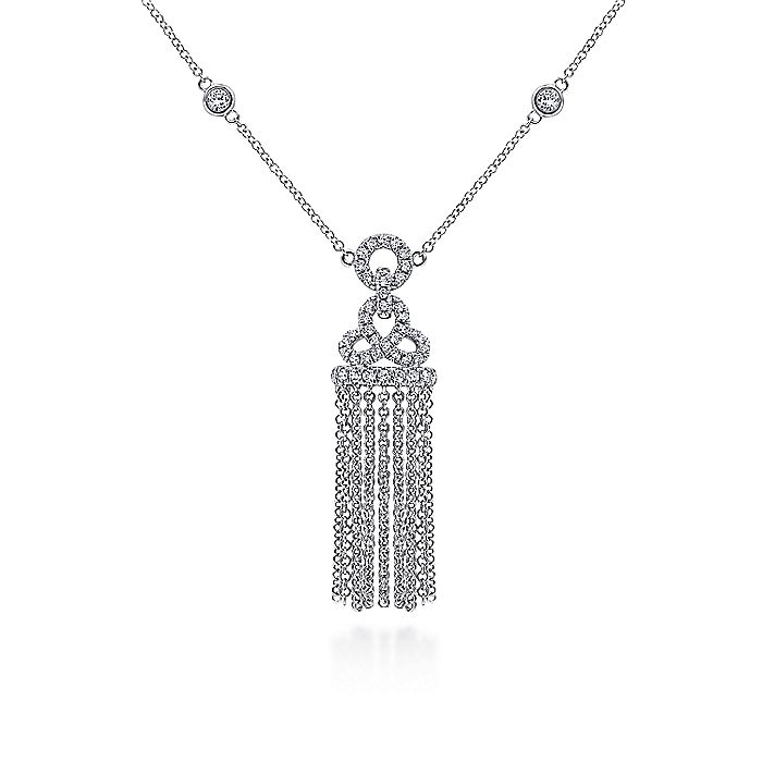 Art Deco Inspired 14K White Gold Diamond Pavé Tassel Pendant Necklace