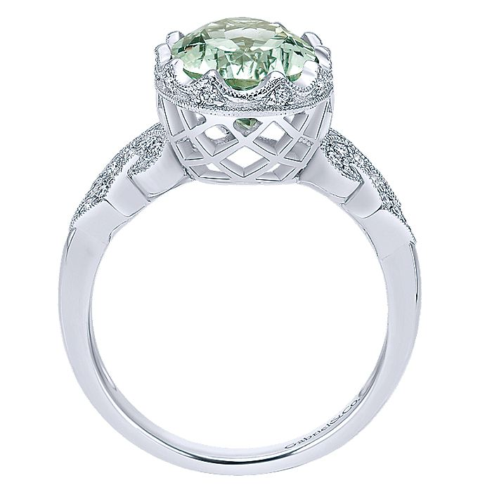 Art Deco Inspired 14K White Gold Oval Green Amethyst and Diamond Ring