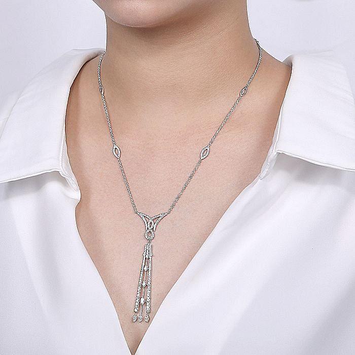 Art Deco Inspired 18K White Gold Diamond Pavé Pendant Necklace