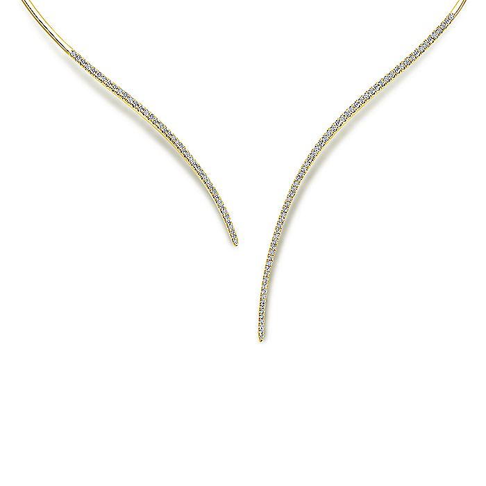 Assymetrical 14K Yellow Gold Open Diamond Collar Necklace