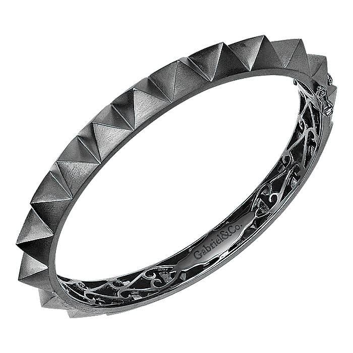 Black Plated 925 Silver Pyramid Bangle