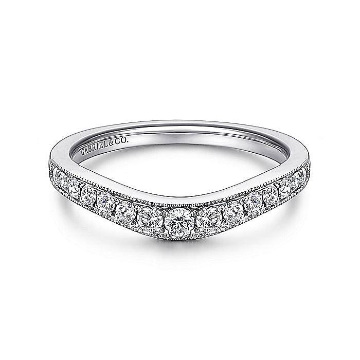 Curved 14K White Gold Diamond Wedding Band