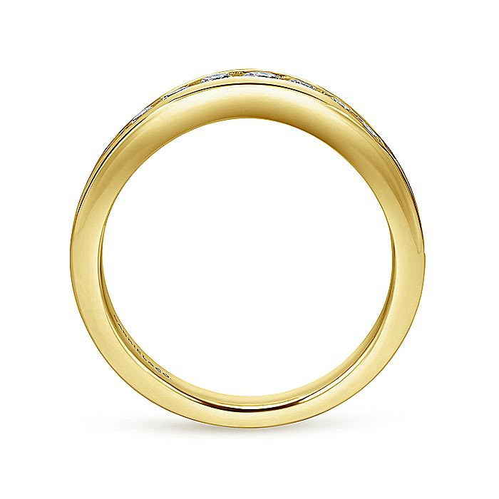 Curved 14K Yellow Gold Channel Set Diamond Wedding Band
