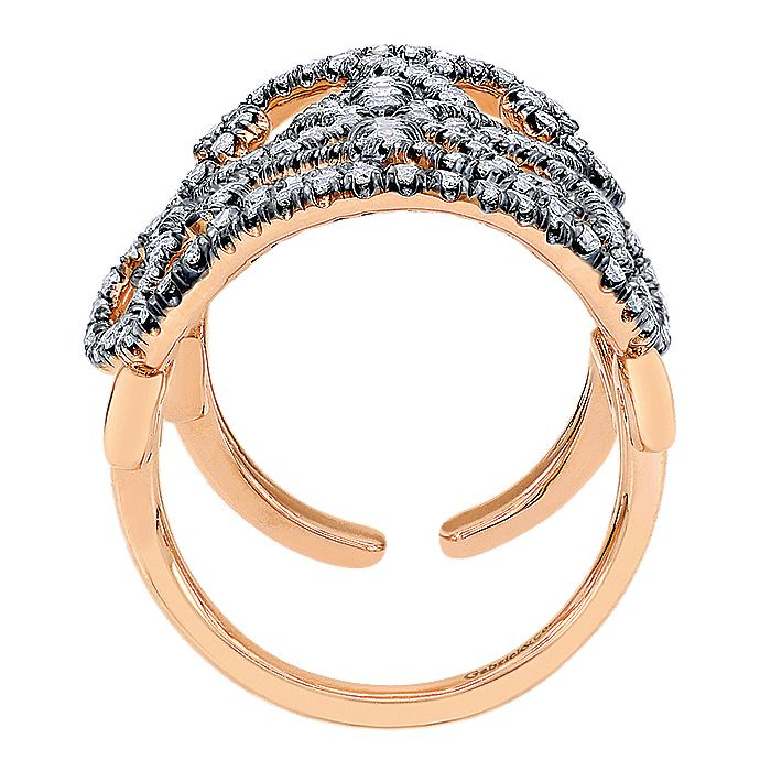 Double Finger 14K Rose Gold Openwork Diamond Statement Ring