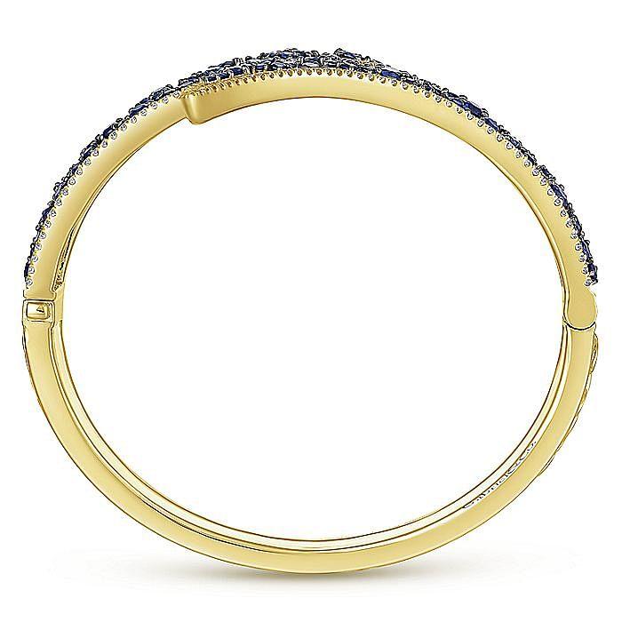 Dramatic 14K Yellow Gold Diamond and Sapphire Bypass Bangle