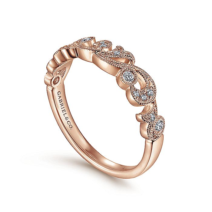 Floral 14K Rose Gold Diamond Anniversary Band with Millgrain