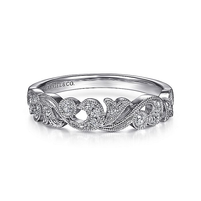 Floral 14K White Gold Diamond Anniversary Band with Millgrain
