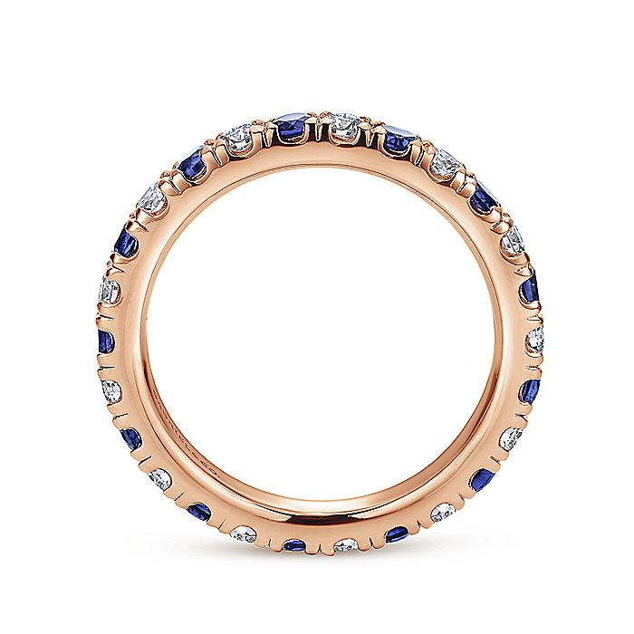 French Pave  Eternity Sapphire and Diamond Ring in 14K Rose Gold