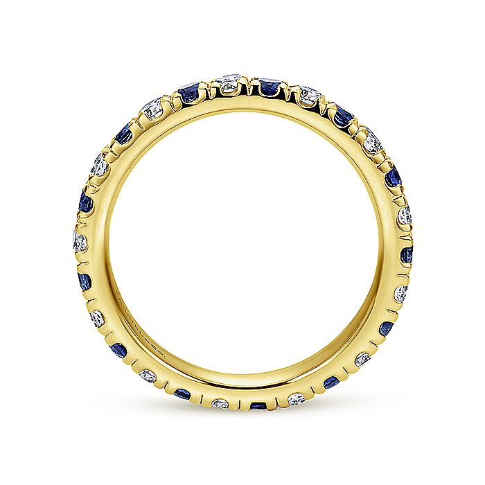 French Pave  Eternity Sapphire and Diamond Ring in 14K Yellow Gold