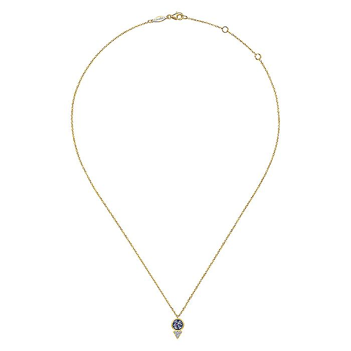 Geometric 14K Yellow Gold  Manmade Alexandrite and Diamond Pavé Pendant Necklace
