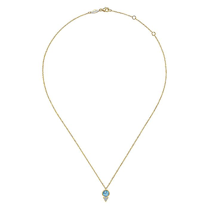 Geometric 14K Yellow Gold Blue Topaz and Diamond Pavé Pendant Necklace