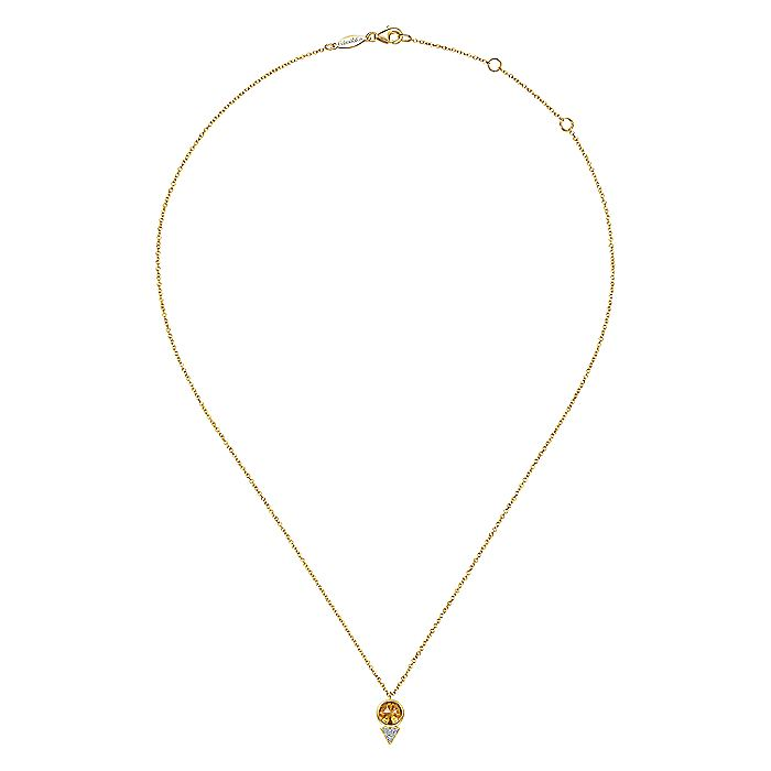 Geometric 14K Yellow Gold Citrine and Diamond Pavé Pendant Necklace
