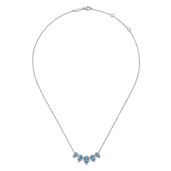 Graduating 14K White Gold Pear Shaped Blue Topaz and Diamond Halo Necklace