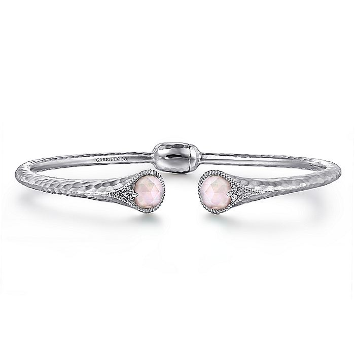 Hammered 925 Silver Rock Crystal and Pink MOP Split Bangle