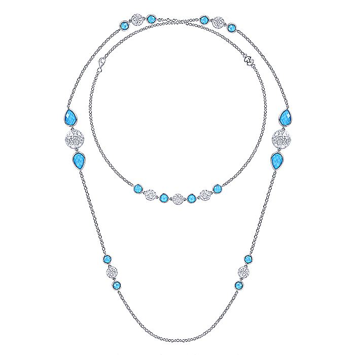 Hammered 925 Sterling Silver Doublet Rock Crystal/Turquoise Station Necklace