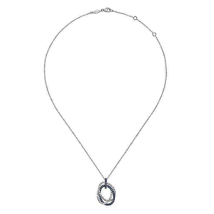 Hammered 925 Sterling Silver Layered Oval Shape Sapphire Pendant Necklace