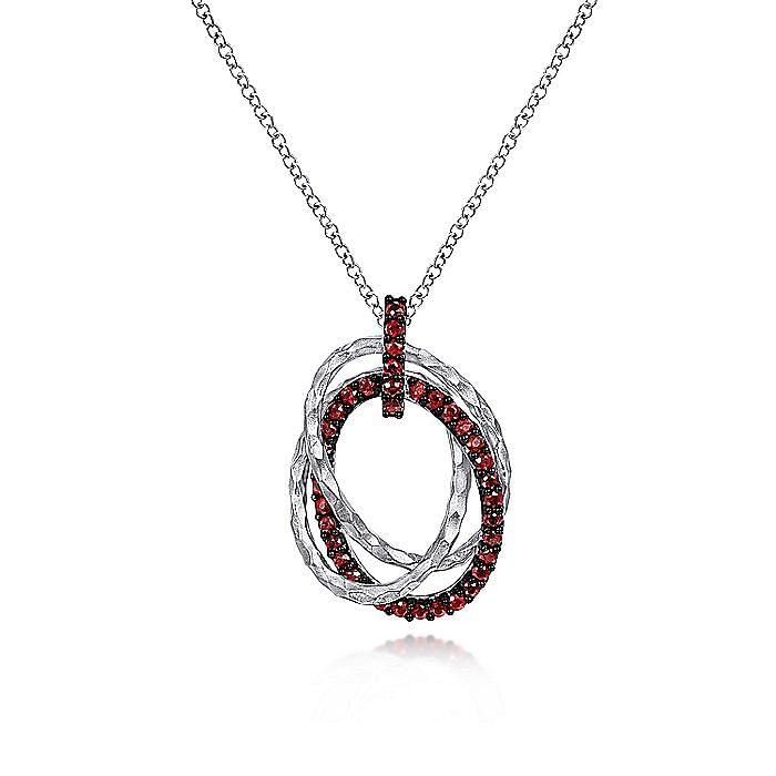 Hammered 925 Sterling Silver Multi Oval Garnet Pendant Necklace