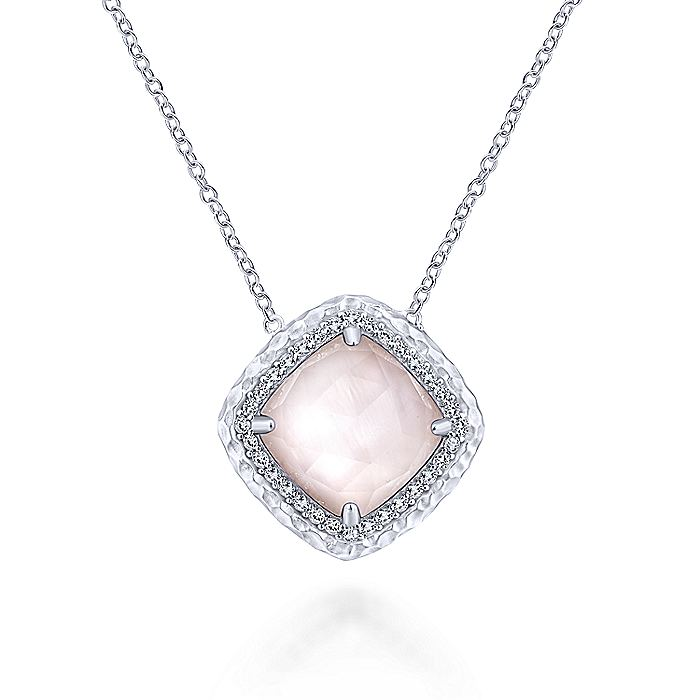 Hammered 925 Sterling Silver Rock Crystal/Pink Mop Pendant Necklace with White Sapphire Halo