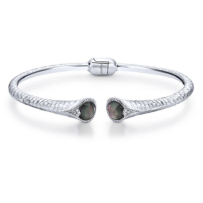Hammered 925 Sterling Silver Rock Crystal and Black Pearl Split Bangle