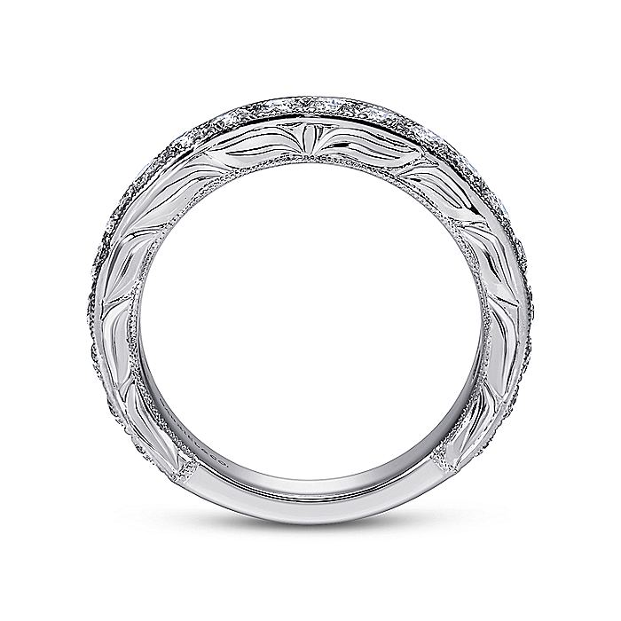 Hand Engraved 14K White Gold Micro Pavé Diamond Anniversary Band