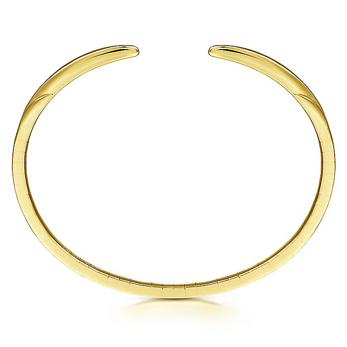 High Polished 14K Yellow Gold Split Cuff Bracelet