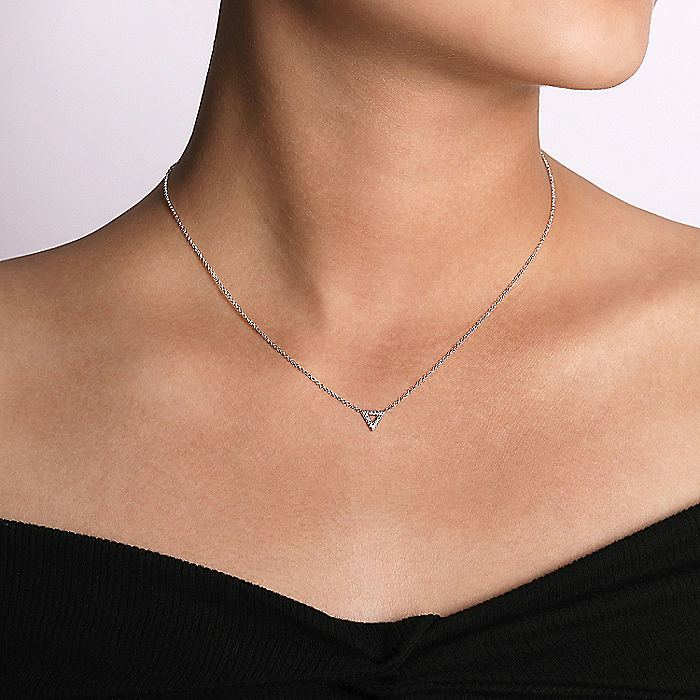 Open 14K White Gold Diamond Pavé Triangle Pendant Necklace