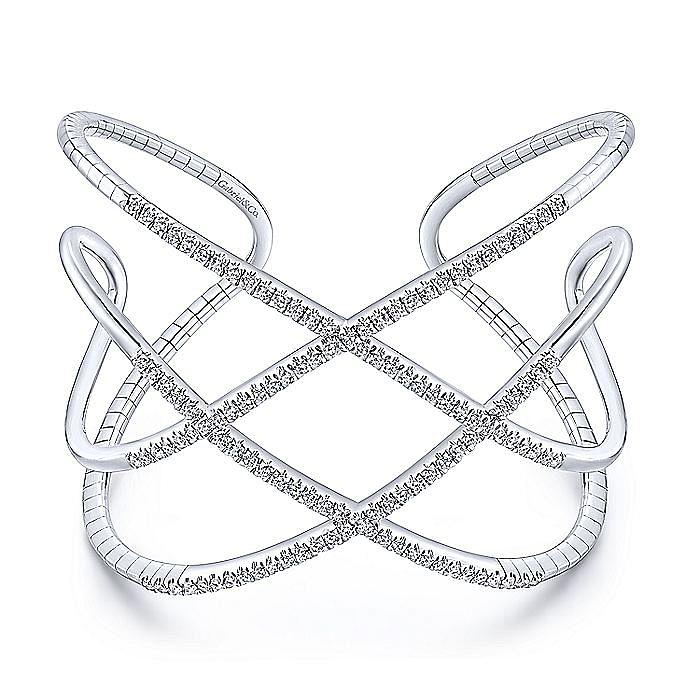 Open 14K White Gold Wide Diamond Cuff Bangle