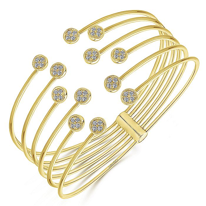 Open 14K Yellow Gold Bangle with Round Pavé Diamond Endcaps