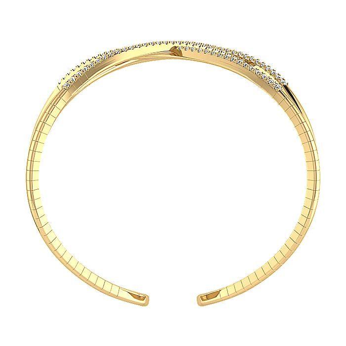 Open 14K Yellow Gold Wide Diamond Cuff Bangle