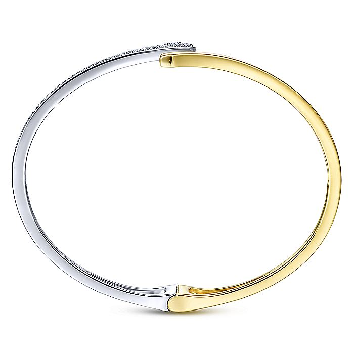 Open 14K Yellow and White Gold Bypass Bangle with Pavé Diamonds