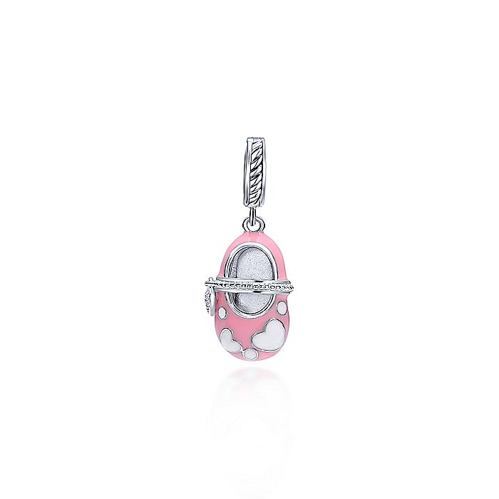 Pink Enamel Sterling Silver Baby Shoe Pendant with Diamonds