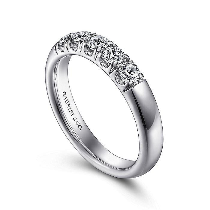 Platinum 5 Stone French Pavé Diamond Wedding Band