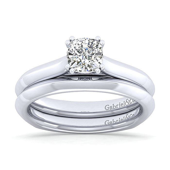 Platinum Cushion Cut Diamond Engagement Ring