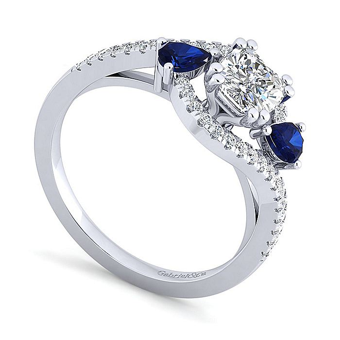 Platinum Cushion Cut Three Stone Sapphire and Diamond Engagement Ring