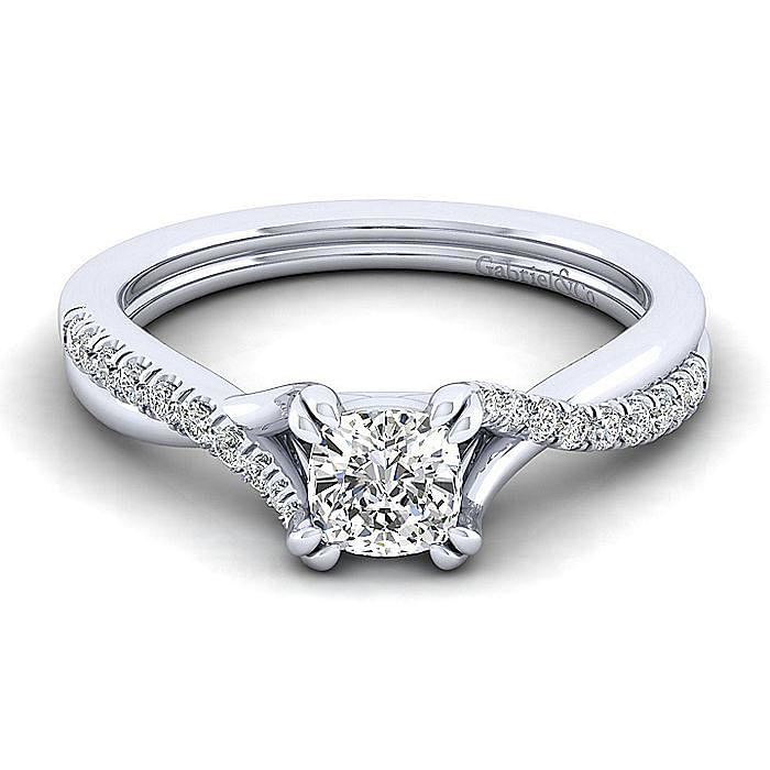 Platinum Cushion Cut Twisted Diamond Engagement Ring